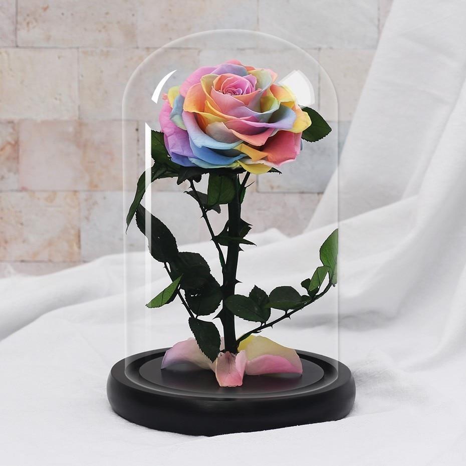 Подарки ко дню Святого Валентина красота и чудовище роза цветок в стеклянном куполе Рождество для украшения стола вечные цветы - Цвет: Multicolor