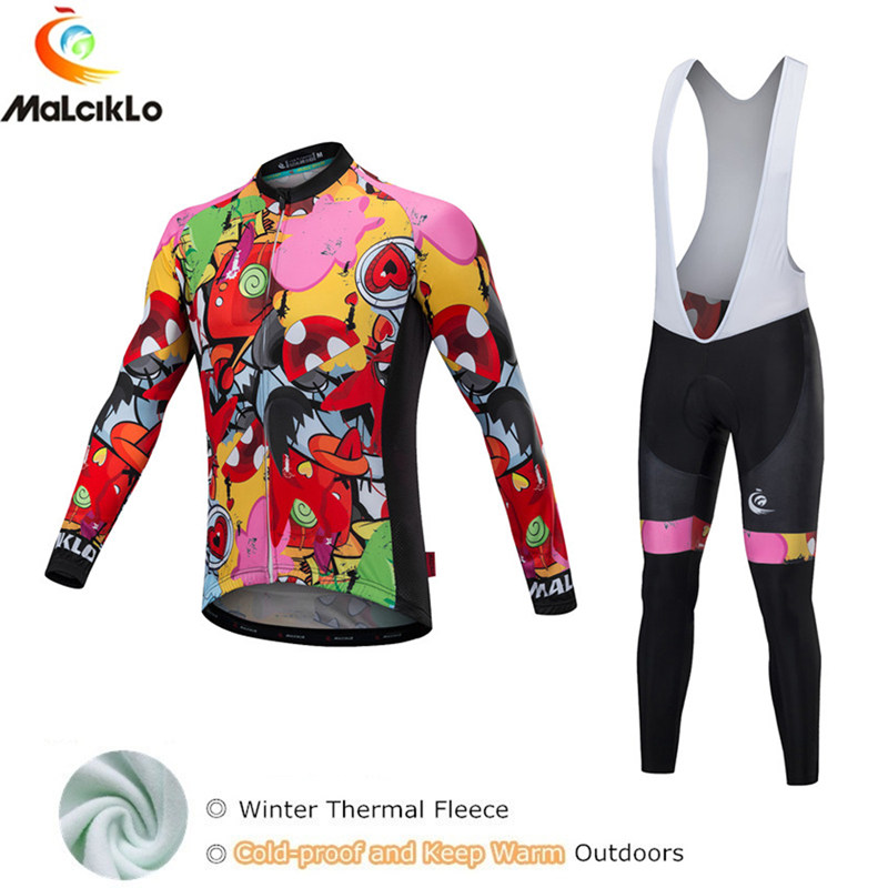 Malciklo Anime Cycling Jersey Winter 2018 Maillot Cycling Set Thermal Fleece Cycling Clothing Maillot Ropa Ciclismo Invierno fualrny 2018 winter fleeced thermal cycling clothing set racing bike sportswear maillot ropa ciclismo invierno bicycle jersey