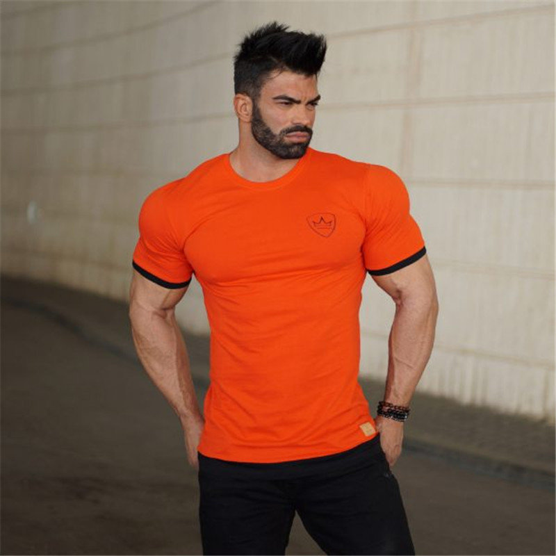 HTB1hkvwe8HH8KJjy0Fbq6AqlpXa0 2019 new gym breathable men's muscle fitness short sleeve training bodybuilding fitness cotton sportswear T shirt clothes