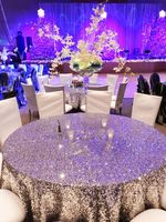 Factory Directly Wholesale 10PCS Wedding Decorative Silver Glitter Sequin Tablecloth 120'' Round Sequin Table Cloth Table Runner