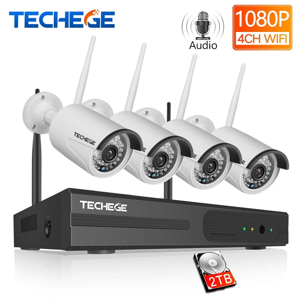 Techege 4CH Vigilância 1080P NVR 1080P WIFI Câmera IP kit de Áudio sem fio Wi-fi Sistema de Câmera de CCTV P2P 2.0MP CCTV sistema de câmera
