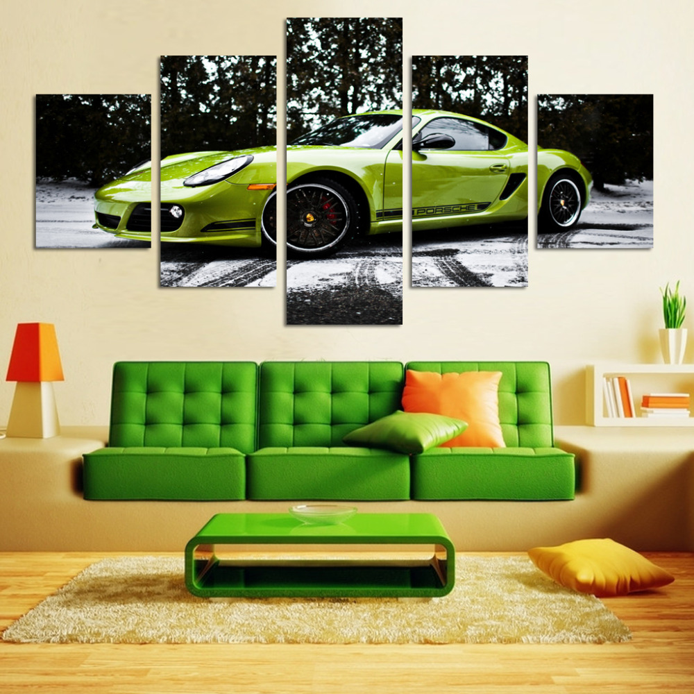 hot selling green car print on canvas wall pictures 5 pieces unframed home decor pictures for living room