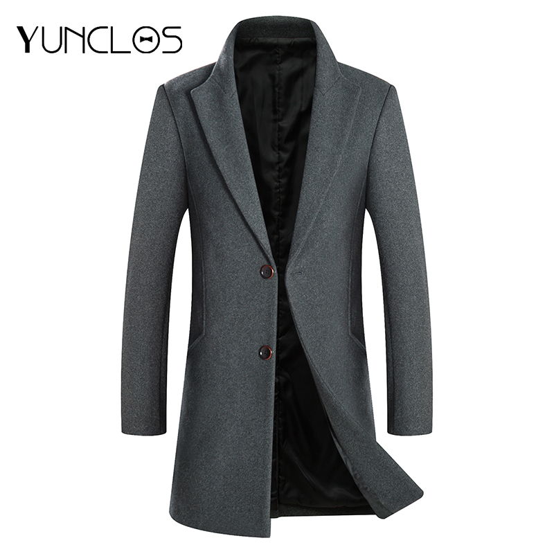 YUNCLOS Men's Wool Coat Winter Cashmere Jacket Middle Long Single Breasted Overcoat Turn-down Collar Casual European style