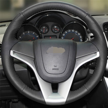 Black Artificial Leather Car Steering Wheel Cover for Chevrolet Cruze Aveo