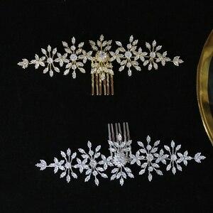 Image 5 - ASNORA szczotka do włosów z cyrkonią i cyrkoniami do ślubnych akcesoriów do włosów, grzebień ślubny do włosów damskich