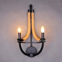 IWHD American Country Loft Style LED Wall Lamp Creative Hemp Rope Wall Lights Retro RH Wall Light Bedside Fixtures Home Lighting