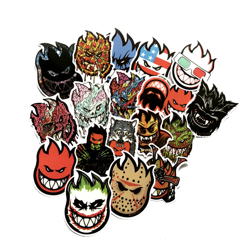 18pcs Funny Fire Spitfire Cartoon Stickers For Mobile Phone Laptop Luggage Guitar Case Skateboard Fixed Gear Bike Car Sticker F4