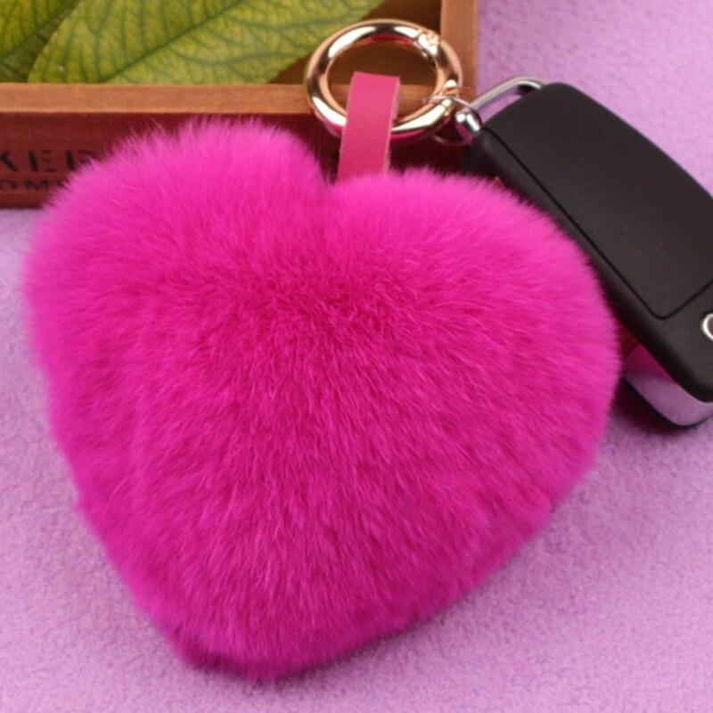 복숭아 심장 렉스 토끼 머리 공 키 체인 봉제 사랑 가방 버클 장식 심장 모양의 모피 자동차 키 펜던트