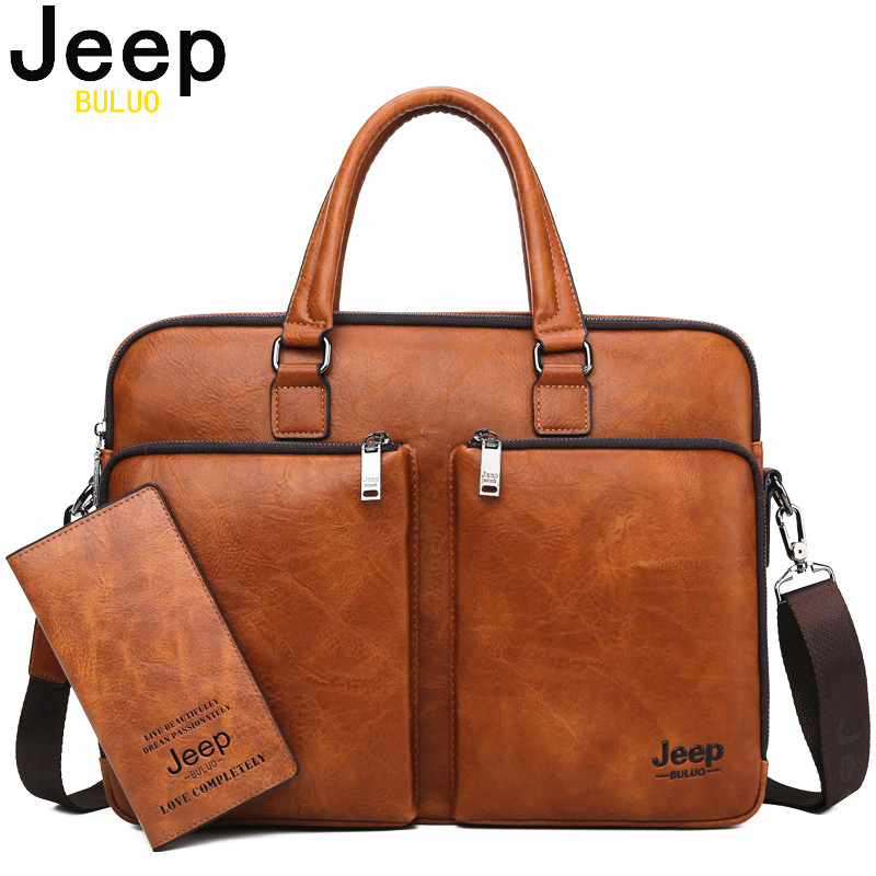 JEEP BULUO Brand Man Briefcase Large Capacity Leather Casual  Shoulder Bag For Men Laptop Business Bags Handbags High end  NewBriefcases