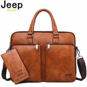 Image 1 - Jeep buluo marca homem maleta de grande capacidade de couro casual bolsa de ombro para homens portátil sacos de negócios bolsas high end novo