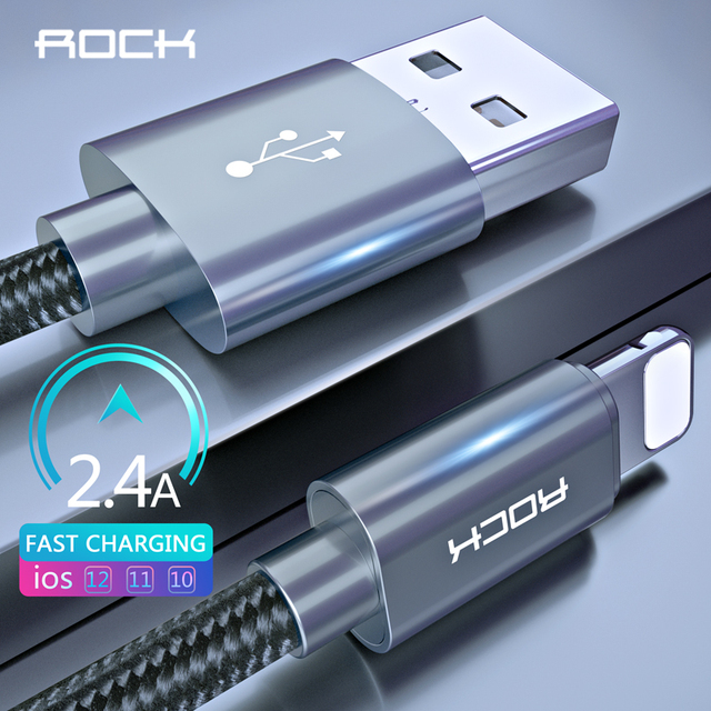 ROCK USB Cable for iPhone X 8 7 6 6S Plus 5 5S SE Fast Charging Lighting Cable Sync Data Cord Mobile Phone Wire