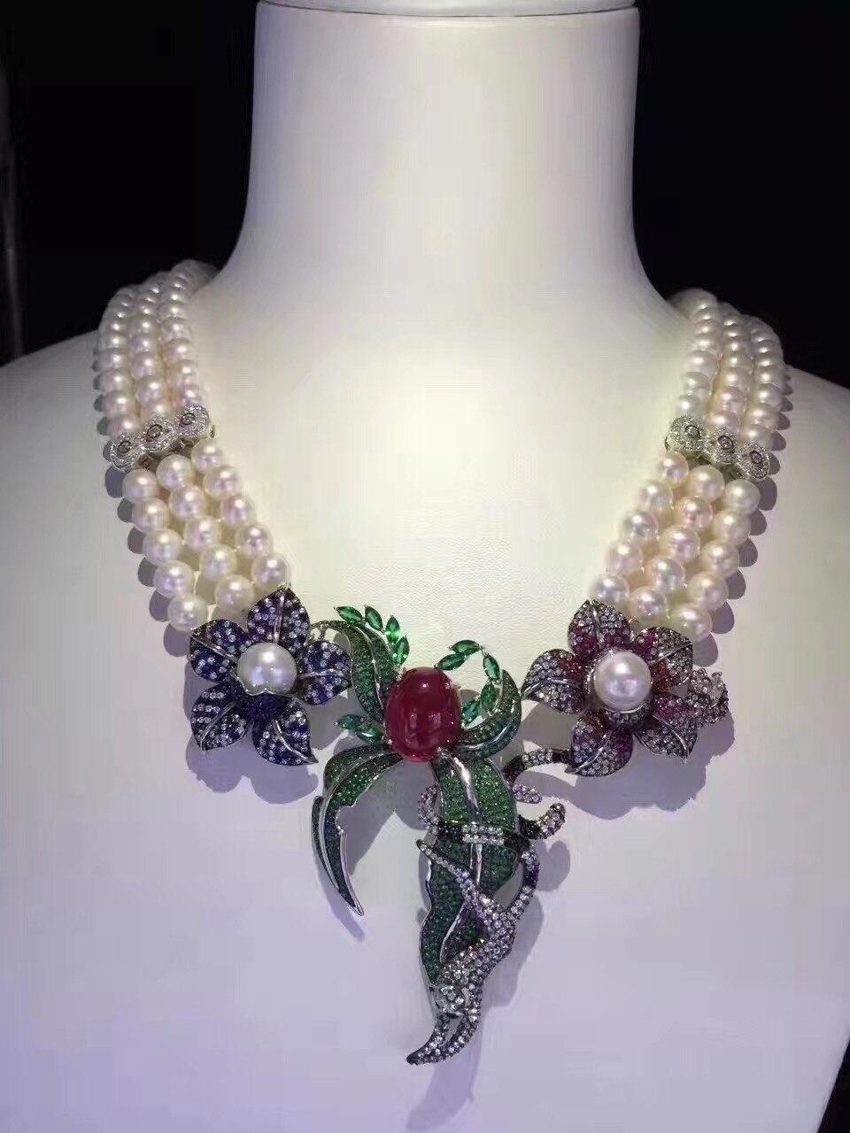 Роскошные ювелирные изделия из натурального пресной воды Жемчужное ожерелье нескольких слоев Свадебная вечеринка ожерелье стерлингового