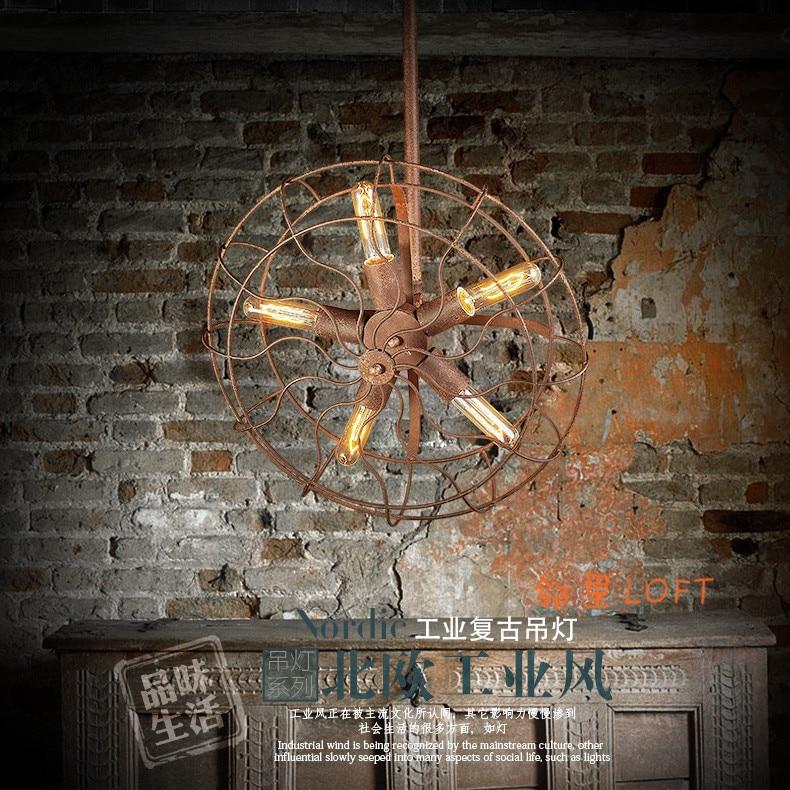 village LOFT industrial living room restaurant iron fan pendant light dining room bar hanging light lamp