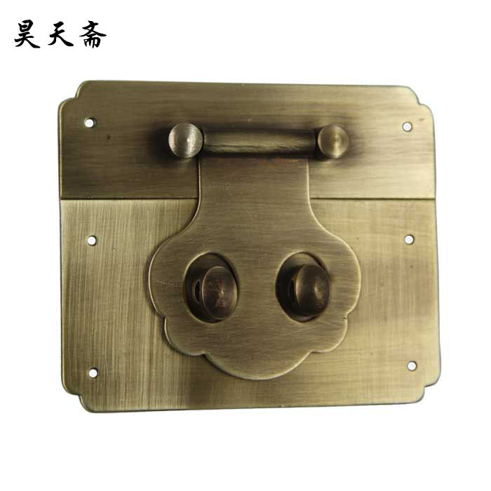 [Haotian vegetarian Chinese antique Ming and Qing Zhang Muxiang] bronze copper fittings suitable for 40-50CM box [haotian vegetarian] ming and qing antique furniture copper fittings copper box buckle copper box lock htn 046