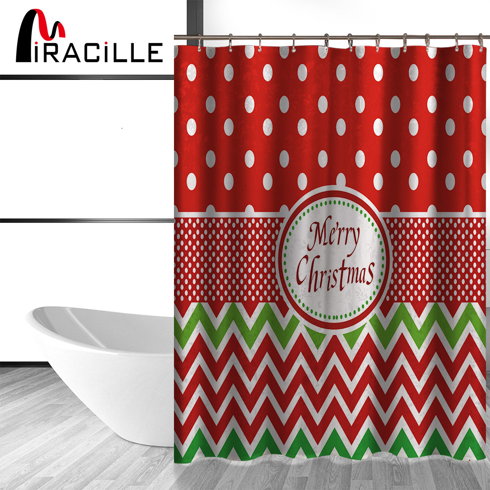 Miracille Colorful Snowman Merry Christmas Pattern Fabric Waterproof Shower Curtain for Bathroom Home Decorative With 12 hooks