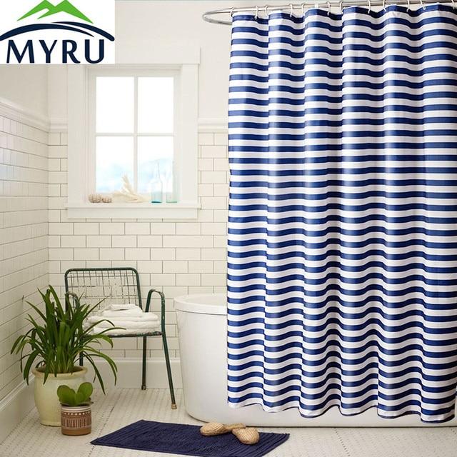 MYRU Blue And White Striped Thick Polyester European Shower Curtains  Bathroom Waterproof Shower Curtain Unique Shower