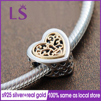 LS 100% Authentic S925 Silver 1.4.k Solid G.old Locked Hearts Charm Fit Original Bracelets Pulseira Encantos.100% Fine Jewelry N