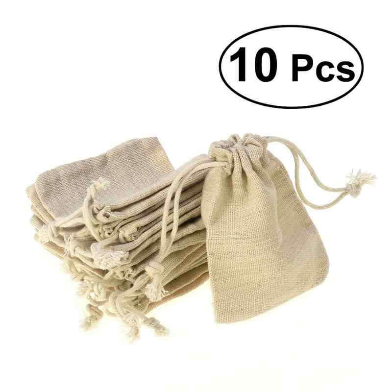 10pcs Linen Jute Sacks Drawstring Gift Bags 5 size bag Organza Wine Bottle Cover Wrap Gift Pouch Home Storages Wedding Birthday