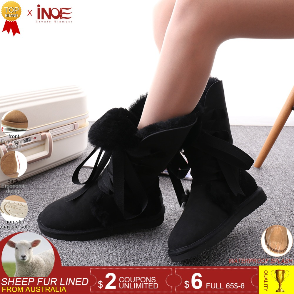 INOE fashion lace up women high winter snow boots sheepskin leather wool fur lined winter shoes for women bow-knot purple blackINOE fashion lace up women high winter snow boots sheepskin leather wool fur lined winter shoes for women bow-knot purple black