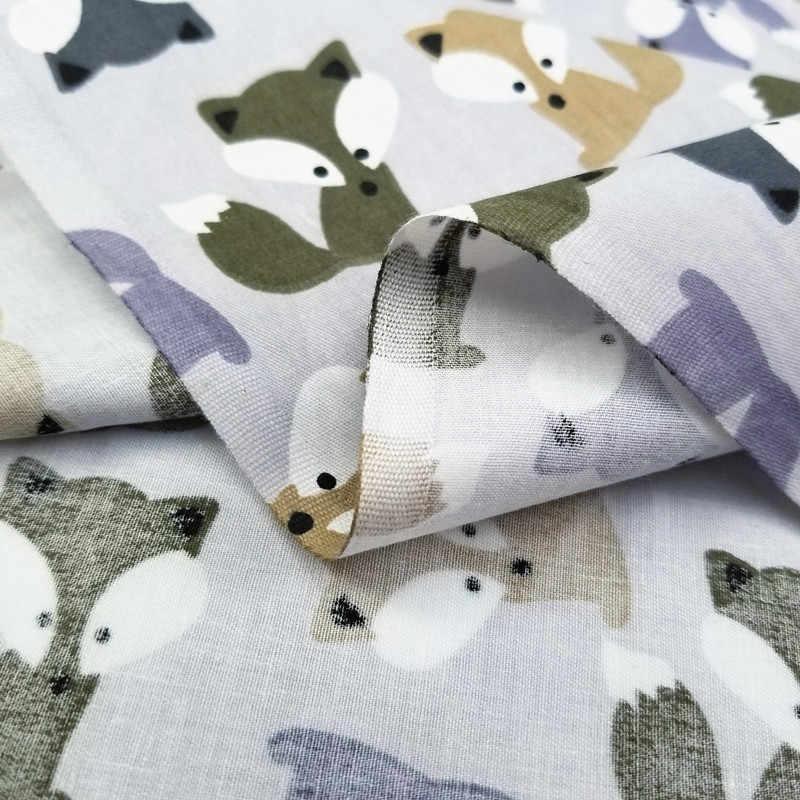 Детская саржевая хлопковая ткань с изображением лисы и животных на полметра для лоскутного шитья, детское постельное белье, одеяло, ткань для шитья