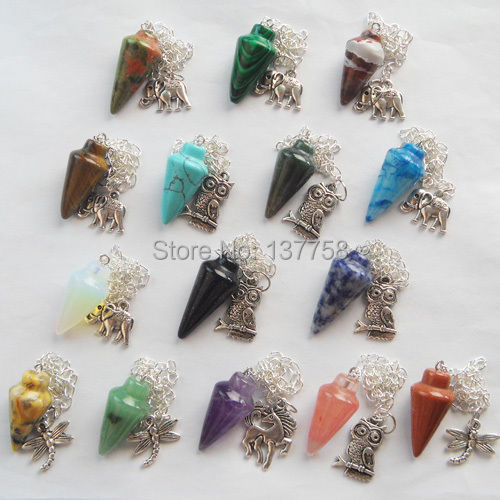 (Min. Order é de r $10) 15 Pcs Misturada Bonita Pedra Pendulum Com o Tibete Prata Pingente Bead D147