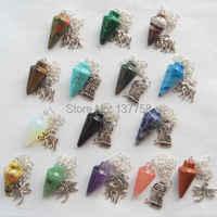 (Min. Order est $10) 15 pièces Belle Pierre Mélangée Pendule Avec Tibet Argent Pendentif Perle D147