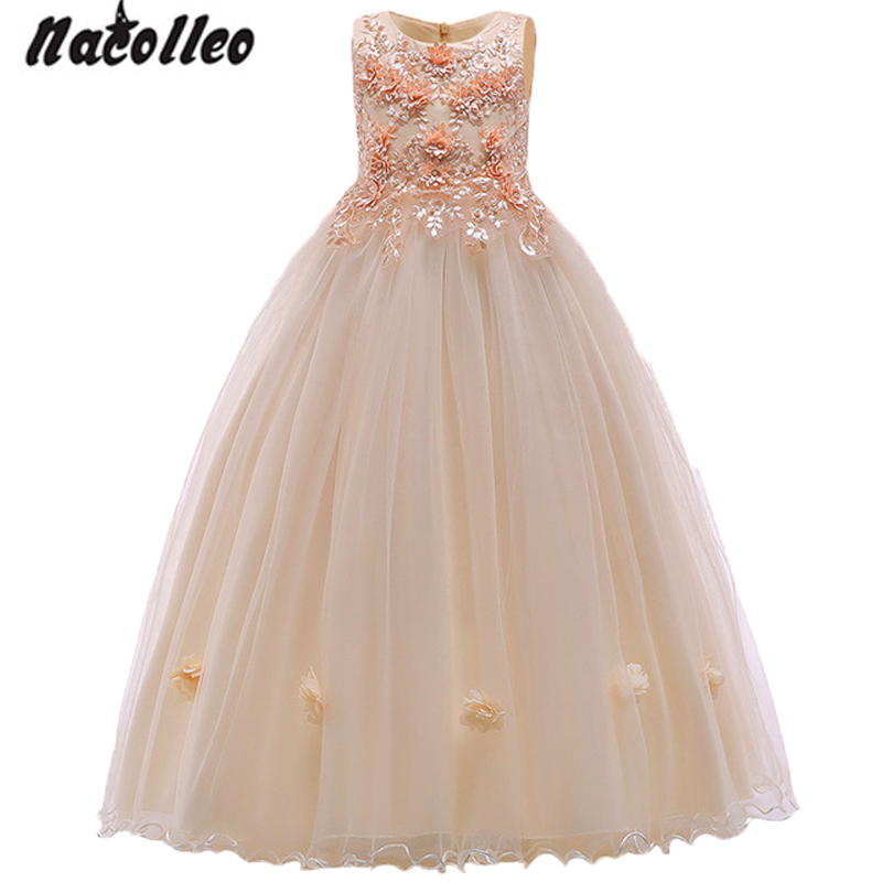 Champagne color Kids Dresses Princess Wedding Gown Summer Girl Dress Long Tulle Teen Girl Party Dress Elegant Children ClothingChampagne color Kids Dresses Princess Wedding Gown Summer Girl Dress Long Tulle Teen Girl Party Dress Elegant Children Clothing