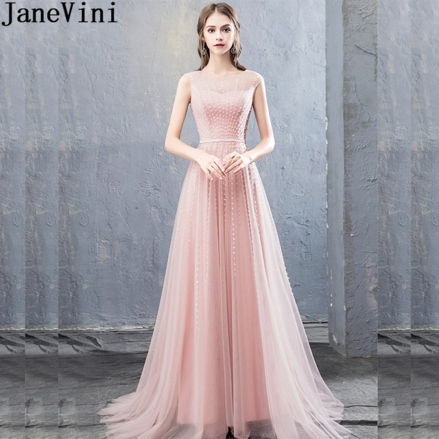 7556e19b2cd2 JaneVini Illusion Tulle Beaded Prom Gowns Long Shiny Sequined Light Pink Bridesmaids  Dresses Wedding Guest Party Dress Formal