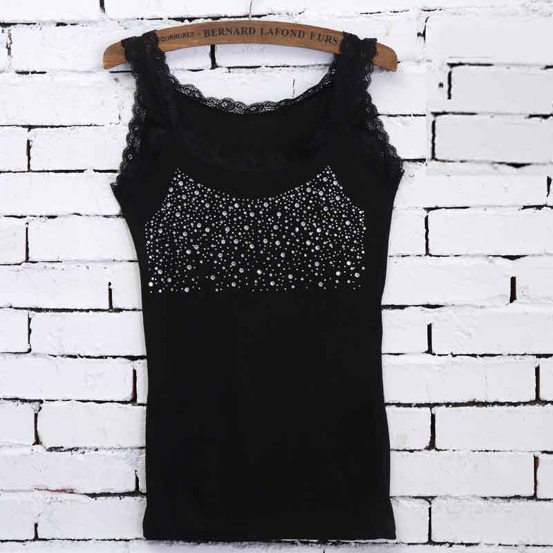 Leisure Women Girl Rhinestone Sequin Lace   Tank   Female Lace Collar   Tank     Top   Low-cut T-shirts Solid Sleeveless Camisole   Tops