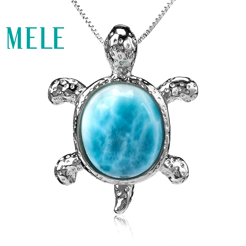 Tortoise shape natural deep blue larimar pendant with silver 925 classic style jewelry for women and