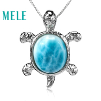 Tortoise shape natural deep blue larimar pendant with silver 925,classic style jewelry for women and girls Suitable for party