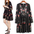 2017 New Women Embroidery Black Dress Vintage Flower Floral Vestidos Casual Loose Round Collar Long SleeveRuffle Dresses