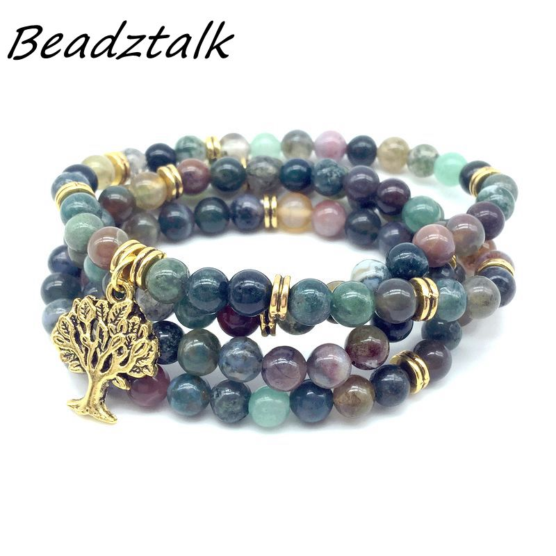 BEADZTALK Fashion Women Colorful Stone Wrap Bracelet Mala Beads Bracelet or Necklace Metal Charm Yoga Necklace