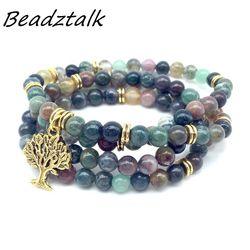 BEADZTALK Natural Stone Beads Mala Bracelet With Metal Tree Charms Yoga Necklace Woman Bangle Elastic Hot Sale DropShipping