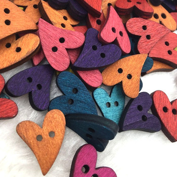 50 100 sztuk zestaw Mix drewna drewniane szycia serca kształt przycisk przyciski Craft Scrapbooking na dodatki do odzieży WB356 tanie i dobre opinie color kite 2-otwory przycisk CN (pochodzenie) NONE flatback Pranie chemiczne 21*17mm Approx Barwienie Serce