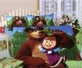Masha bear girls toddler bedding set twin full queen size cartoon quilt duvet cover bedsheet bedspread sheets bed  bedroom linen