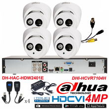 Original DAHUA 4MP Waterproof Camera DH-HAC-HDW2401E CVI Dome camera with 4CH Digital CVR DHI-HCVR7104H security camera kit