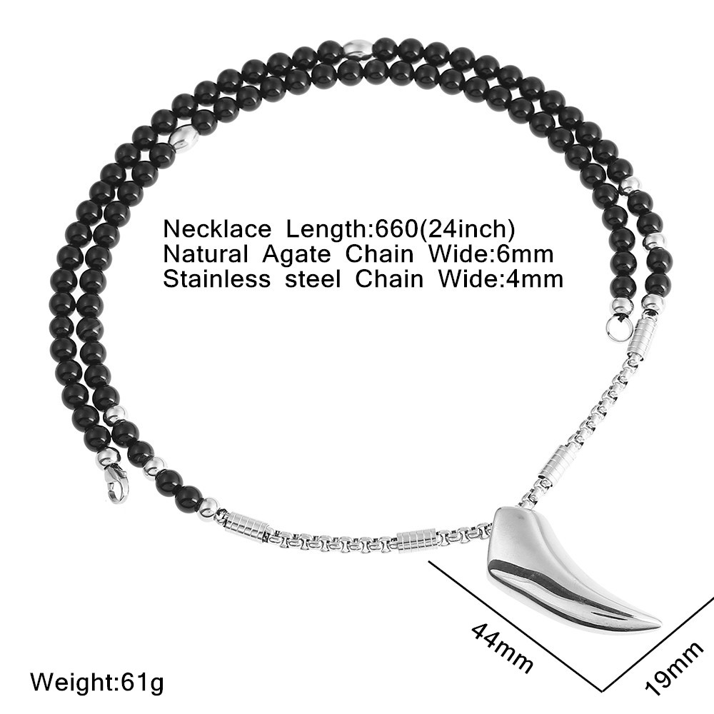 Mens Stainless Steel Wolf Tooth Pendant Necklace with Black Natural Stone Chain 26 for Men Jewelry