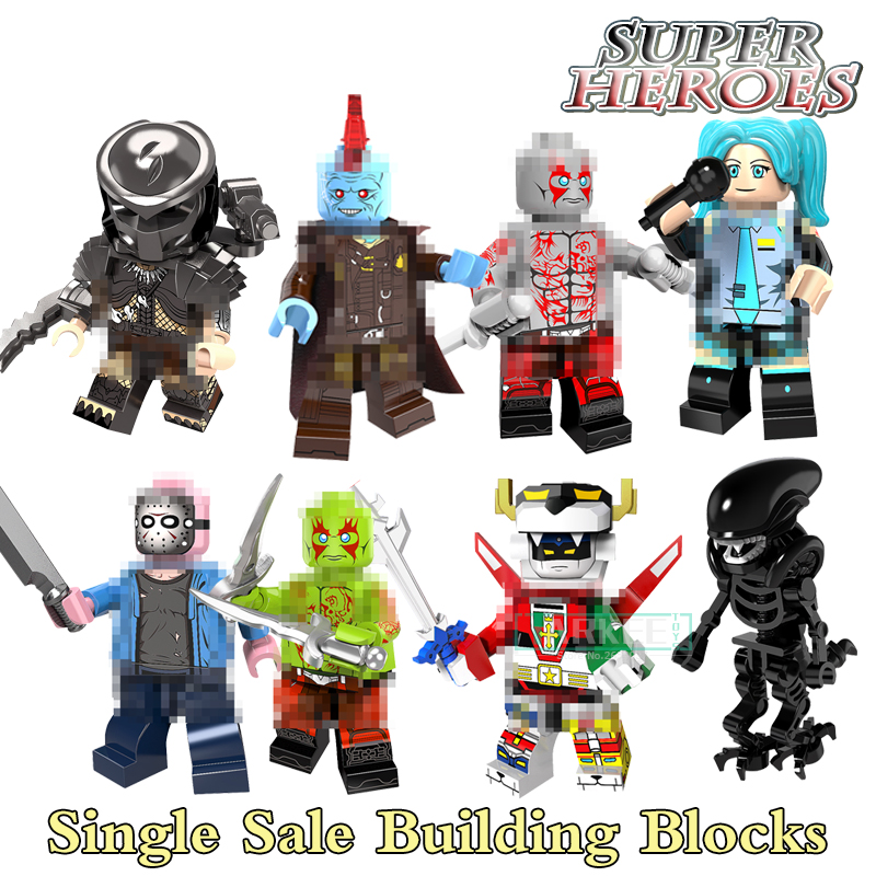 Building Blocks VoltronFigure Jason Voorhees Yondu Hatsune Miku Alien Drax Predator Set Super Heroes Model Kids Toys PG8102