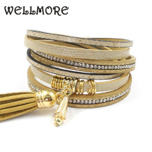 beige leather bracelet wrap bracelets magnet buckle Bohemian bracelets& bangles for women jewelry B16060