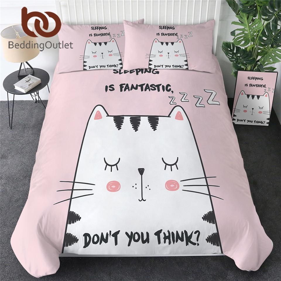 BeddingOutlet Cat Pink Bedding Set Comforter Cover Colorful Bed Set King Cartoon Kids Bedspreads 3pcs Animal Lover Parure De Lit