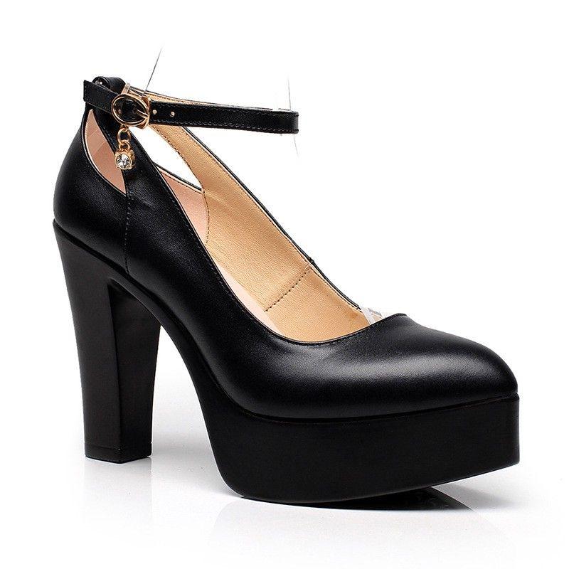 La 34 Talons 43 Boucle Sangle Profonde blanc Chaussures Bout Taille 2018 forme Pointu Mode Plus Plate Pompes Femmes Noir En Épais De Cuir Peu Haute wqBZxHZX14