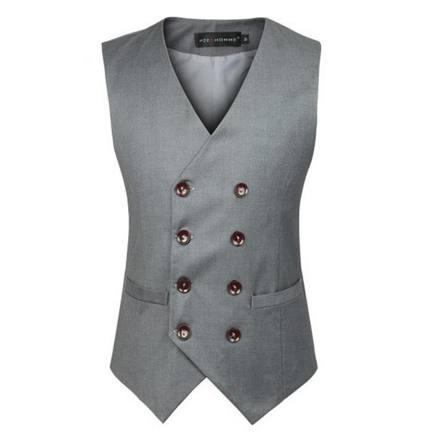 S-3XL Suit Vest Men Gray Black British Double Breasted V Neck Cotton Solid Wedding Work Waistcoats For Men Plus Size Jacket
