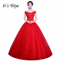 Free Shipping 2017 Short Sleeves Red White Lace Bling Wedding Dresses Plus Size Sequins Princess Bride