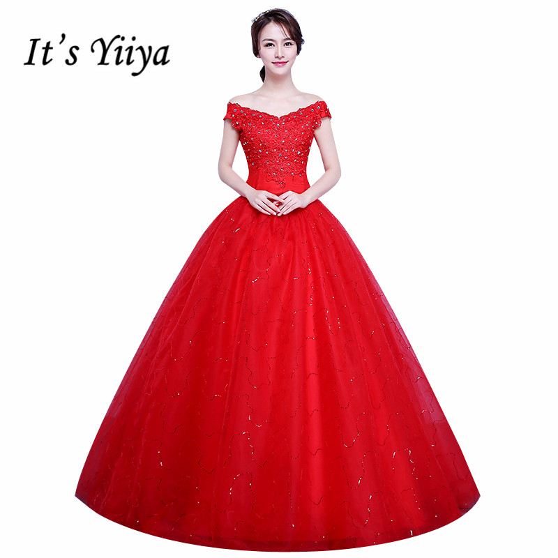 It\'s Yiiya 2017 Short Sleeves Red White Lace Bling Wedding Dresses Plus  size Sequins Princess Bride Frocks Gowns XXN178