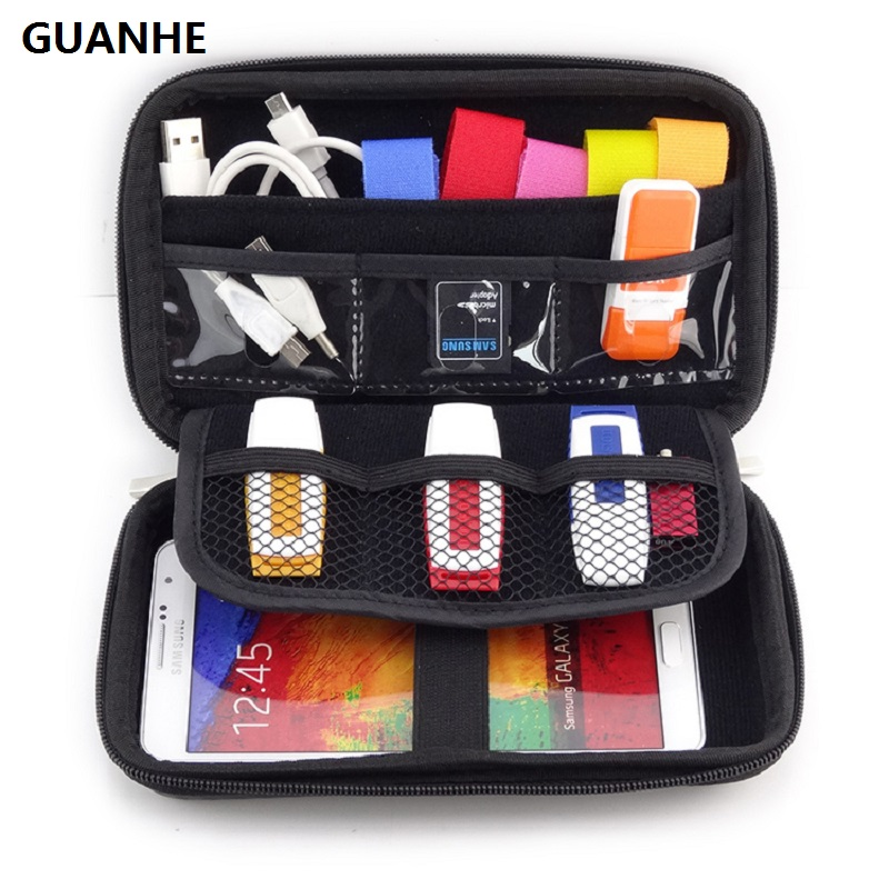 GUANHE 2.5 Bag Case for External Hard Drive Disk/Electronics Cable Organizer Bag/Camera/Mp5 Portable HDD Box Case/Power Bank