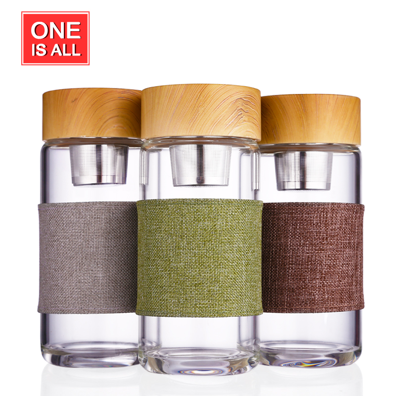 NEW Tea Infuser Glass Bottle Stainless Steel Filter <font><b>Portable</b></font> Sport <font><b>Leak</b></font> <font><b>Proof</b></font> Drinking <font><b>Water</b></font> For Bottles With Cover