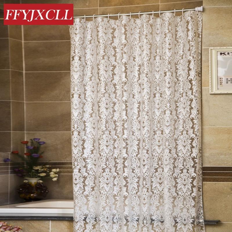 유럽 플로랄 패턴 PEVA 흰색 투명한 몰드 프루프 방수 두꺼운 샤워 커튼 욕실 제품 욕실 커튼