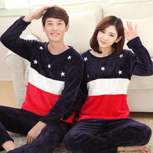 Autumn Winter Couple Printing Star Pajama with Long Sleeve Long Pant O Neck Warm Flannel Large Size Pajama Sets Home Suits