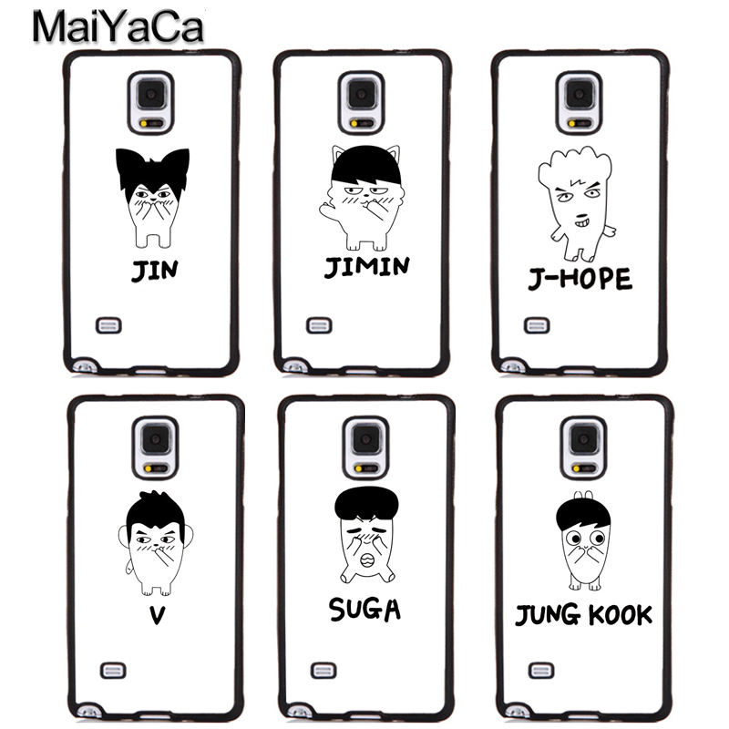 MaiYaCa KPOP BTS Bangtan Boys JIN V Cartoon Rubber Phone Cases For Samsung S5 S6 S7 edge plus S8 S9 plus Note 4 5 8 Back Cover
